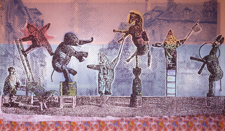 Sigmar-Polke-Circus-Figures-2005-Mixed-media-on-fabric-300-x-500-cm